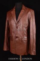 Mens RICHMOND Brown Washed Lambskin Smart Classic 2 Button Leather Jacket Blazer