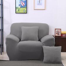 Housse Canapé Polyester Fini 1 Place Sofa Fauteuil Extensible Gris