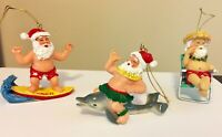 3 VTG Hawaiian XMas Ornaments of Santa Claus w/ Dolphin, Surfboard & Lawn Chair
