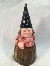 Vintage Gorham Bell Unieboek, B.V. 1979 Gnome Woman Porcelain Bell w/Sticker