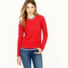 J Crew Honeycomb CABLE Sweater in Red  # 54466 Extra Small XS Angora Blend