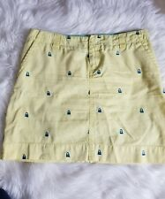 Lilly Pulitzer Yellow With blue tote bag Embroidery Skirt Womens size 4--D14