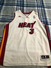Dwyane Wade #3 Miami Heat NBA White Red Adidas Stitched Jersey Size 48/Large