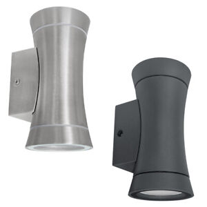 LED Stainless Steel or Graphite Outdoor Double Wall Light Garden Up Down Lamp