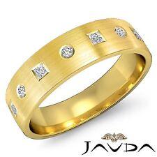 Mens Princess Round Diamond Ring Half Wedding 5mm Band 14k Yellow Gold 0.40Ct