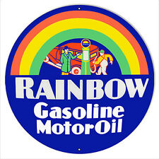 "Rainbow Motor Oil Reproduction Sign 18""x18"" Round"