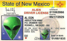 """2X3"""" ALIEN DRIVER LICENSE Funny STICKER. UFO, Area 51. Good on Glass bong / pipe"""