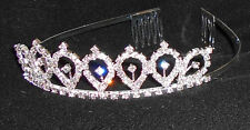 NEW SILVER METAL RHINESTONE TIARA CRYSTAL DANCE Wedding Pageant  almond shape