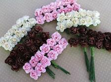 72 Pink/Brown/Ivory Mulberry Paper Rose Flower Mix/Scrapbooking/Craft/Card H177