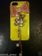 3D Bow Tie Yellow & Bronze Swarovski Crystal Case Handmade iPhone 5 5S Cover
