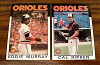 1986 Topps #30 Eddie Murray and #340 Cal Ripken JR - Orioles HOF