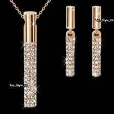 Rose Gold Column Crystal Earrings & Necklace Gifts Set Women Gifts for Her GF K1