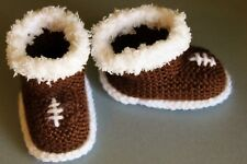 Knitted Baby Booties/Slippers, Football, brown/white Sizes, 0-3, 3-6, 6-12M