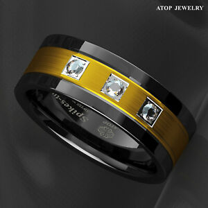 ATOP 8mm Black Tungsten Carbide Ring Brushed Gold Diamonds for Mens Wedding Band