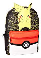"Pokemon Pikachu & Pokeball 16"" Tamaño Completo Mochila con / Opcionales Térmico"