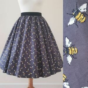 1950s Circle Skirt Bumble Bees Print All Sizes - Charcoal Grey Yellow Rockabilly