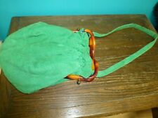Vintage Green Corduroy Plaid Purse Strap Twisted Tortoise Shell Bakelite Clasp