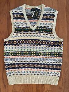 NWT-POLO RALPH LAUREN Men's Cotton Linen Cashmere Fair Isle Knit Sweater Vest- L