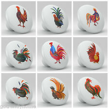 Set of 9 Roosters Chicken Colorful Ceramic Knobs Pull Kitchen Drawer Cabinet 620