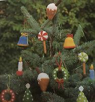 KNITTING PATTERN Jean Greenhowe 6 Christmas Tree Decorations Garland Candle RARE