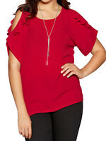 Plus Size Frilled Cold Shoulder Top & Necklace By Quiz Sizes 16 20 22 26