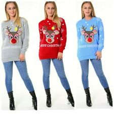 Ladies Womens Festive Xmas Jumper Pink Rudolph Pom Pom Sweater Christmas Jumpers