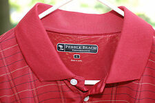 Pebble Beach Performance Mens Red Plaid Golf Polo Shirt Barely Worn Size L Euc