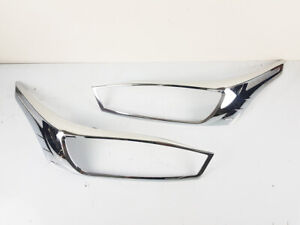 FIT FOR TOYOTA YARIS 2014-2016 CHROME FRONT HEADLIGHT LAMP PAIR COVER TRIM
