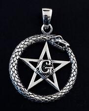 Pendentif maçonnique etoile flamboyante lettre G ouroboros  Argent 925 5g 25447
