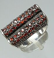 Designer Silber Ring 925 punz. 3 Seiten Granat Besatz Pavee - RG 56/17,8mm /A623