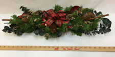 "Christmas Centerpiece Artificial Pine Cones Boughs Eucalyptus Bow Leaves 28"""