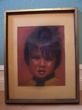 Native American Child By DORIS JONES Signed Pastel  Charcoal Art  Painting 12x15
