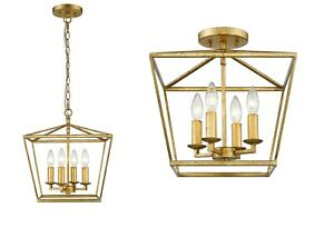 Semi-Flush or 4 Light small Kitchen Pendant Antiqued Gold Distressed Ceiling