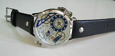 Designer style ICE STAR  2 time zone fashion leather band Rapper style watch