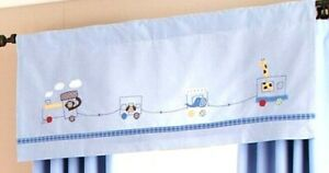 TWO Valances Pottery Barn Baby Kids RYDER CIRCUS TRAIN Blue Animals Stripe 18x44
