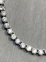 """Vintage Loft Silver Clear Rhinestone Pendant Delicate Pretty Necklace 16-18"""""""