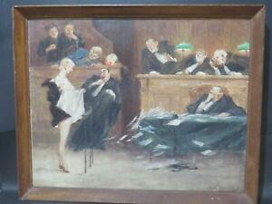 Gaston Hoffmann b1883 French Courtroom Humorous Nude Oil Legal Law