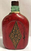 Vintage Italy Red Leather Wrapped Flask Bottle Made in Italy Liquor Whisky