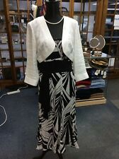JAEGAR off White linen jacket with black/white patterned silk dress size 12