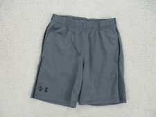 Under Armour Shorts Youth Small Size 6 Gray Black Gym Athletic Boys Kids A76