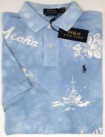 Polo Ralph Lauren Short Sleeve Classic Fit Hawaii Aloha Light Blue Mesh NEW $98
