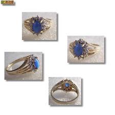 Saphir Ring Sternsaphir mit Diamant 585 Gelbgold 14 Karat Gold