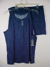Nautica 2 pc Blue Floral Lingerie Cotton Sleeveless Top & Shorts Set NWT Sz XL