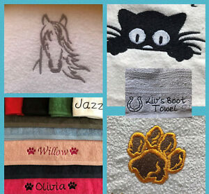 ANIMAL TOWEL - PERSONALISED - FLANNEL OR HAND TOWEL - HORSE / CAT / PAW / WILD