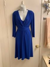 NWOT CHAPS SEXY SLIMMING 3/4 SLEEVE STRETH BLUE DRESS LARGE