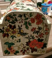 Vintage Made in England Tin Floral Design hinged  bottom is marked