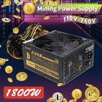 1800W PC Computer Netzteil Kabelmanagement modular 8 GPU ETH RIG Silent Lüfter