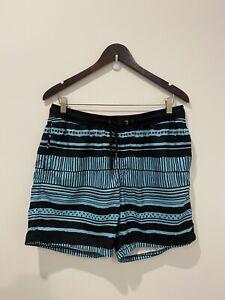 Mens Von Zipper Board Shorts Patterned Blue Black Size 34