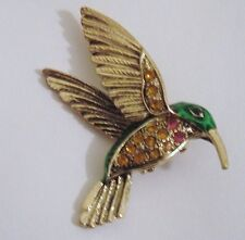 BROOCH GOLD EMERALD GREEN HUMMINGBIRD BIRD PIN AURORA BOREALIS RHINESTONES