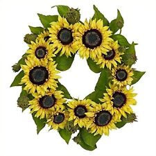 Nearly Natural 4787 Sunflower Wreath- 22-Inch- Yellow